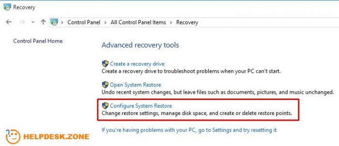 Configure system Restore points