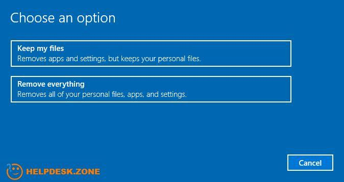 the Windows 10 reset options