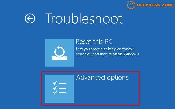 Windows 10 advanced recovery options