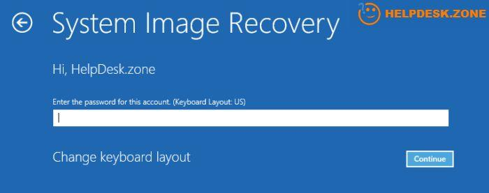 The System Image Recovery menu