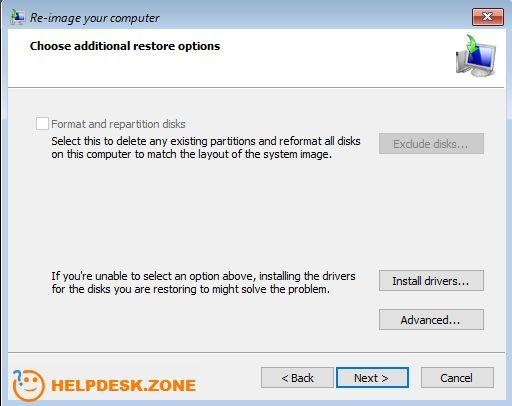 Choose additional restore options