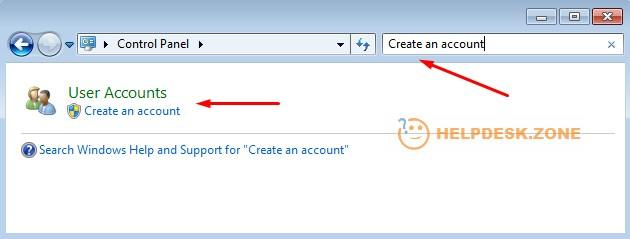 Create an account menu in Windows 7