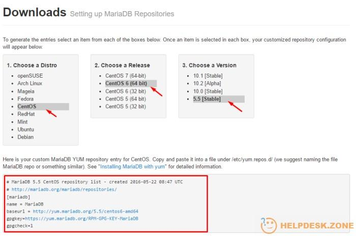 Setting up MariaDB repositories