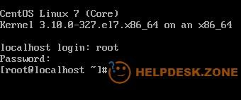 Entering the installed CentOS as root user